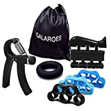 GALAROES Hand Grip Strengthener Forearm Grip Workout Kit Adjustable Hand Gripper Finger Exerciser Equipment Finger Strengthener Resistance Bands, Grip Ring Hand Finger Strengtheners (Black 2) Review