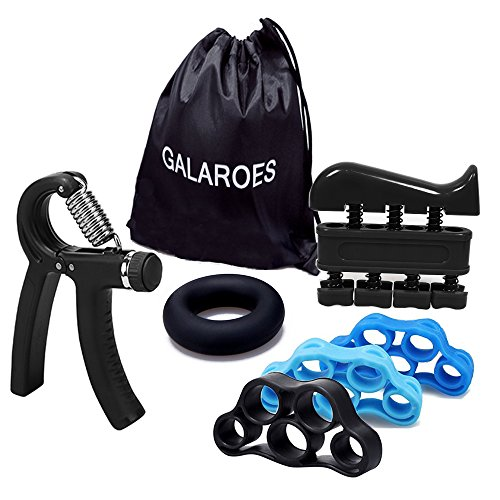 GALAROES Hand Grip Strengthener Forearm Grip Workout Kit Adjustable Hand Gripper Finger Exerciser Equipment Finger Strengthener Resistance Bands, Grip Ring Hand Finger Strengtheners (Black 2)