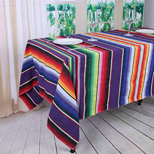 TRLYC Fiesta Themed Party Mexican Blanket DIY Decoration Partycity Baby Shower Birthday Serape Tablecloth 57X72 Inch,145cmx180cm,Purple]()