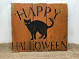 Happy Halloween Black Cat Reclaimed Wood Pallet Sign Home Decor 14x14