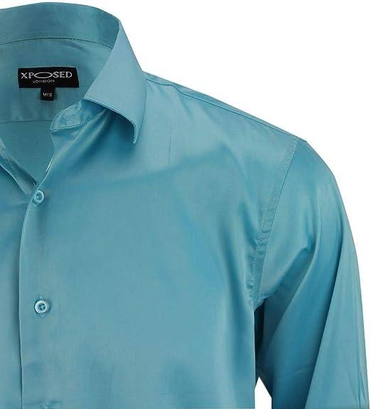 Xposed Camisa de vestir formal de satén para hombre con sensación sedosa y elegante, estilo informal, de doble puño para fiesta de boda