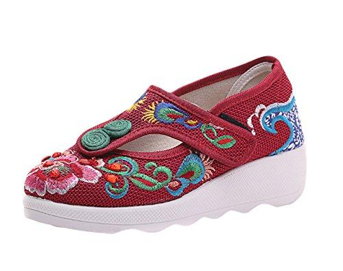 Mocasines Bordado con Mujer Insun de Zapatos Rojo wxqxOXTvI