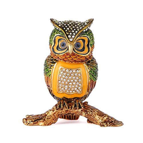 QIFU Vintage Owl Shape Jewelry Trinket Box Hinged Hand Painted Collectible Figurine Unique Gift Home Decor