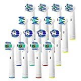 Oral B Compatible Replacement Brush Heads, 16 Pcs Oral B Toothbrush Replacement Heads for Pro1000 Pro3000 Pro5000 Pro7000, includes 4 Floss Action, 4 Cross Action, 4 Precision Clean & 4 3D White