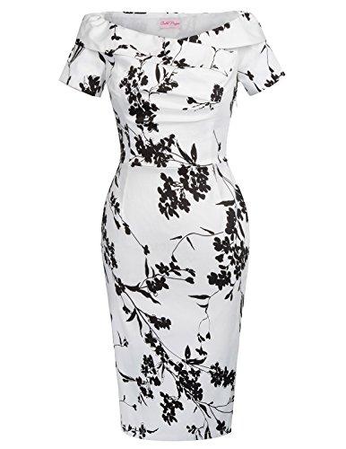 4 Bodycon 8 BP117 Size Wiggle Fit Floral Slim White Dress qxU05YOz