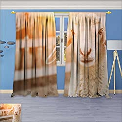aolankaili 3D Geometry Fashion Design Print Thermal Insulated Blackout Curtain Captive breeding Sheep with Top for Bedroom 72W x 72L Inch