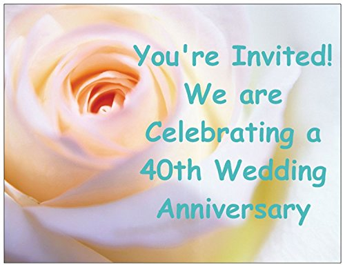 - Rose 40th Wedding Anniversary Invitations - 50/pk