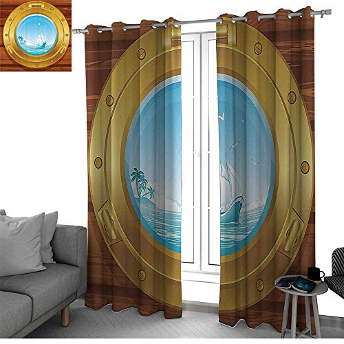 Nautical Decor Collection Room Divider Curtain Screen Partitions Brass Porthole on a Wooden Panel and Palm Trees Island Birds Image Pattern bedroom curtains Golden Peru Blue W108 x L108 Inch