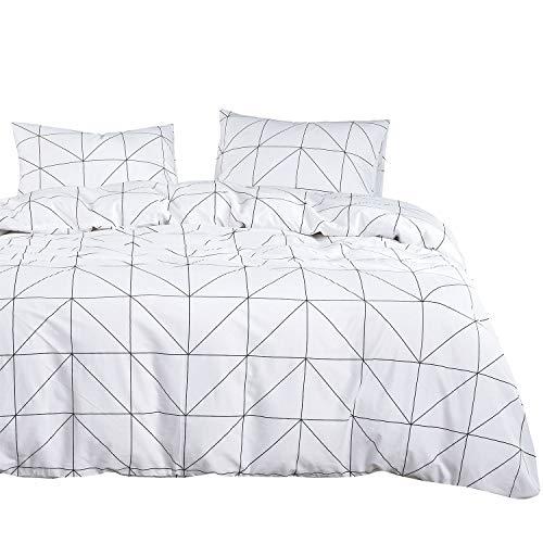 Wake In Cloud - Geometric Comforter Set, 100% Cotton Fabric with Soft Microfiber Fill Bedding, Black Pattern Printed on White (3pcs, Queen Size)