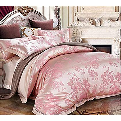 Image of Home and Kitchen HUROohj Satin Jacquard,The New Bedding Four Sets,European Style£¬Bedding Kits£¨ 4 Pcs£for Bed Size Twin/Queen/King,£­Queen