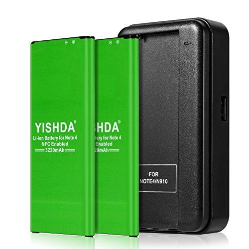 YISHDA Galaxy Note 4 Battery, 2X3220mAh Replacement Samsung Galaxy Note 4 Batteries NFC with Note 4 Charger for N910 N910V N910A N910P N910T N910F N910U | Note 4 Spare Battery [18 Month Warranty]