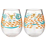 Enesco Designs by Lolita Fish Out of Water Acrylic Stemless Wine Glasses, Set of 2, 17 oz.
