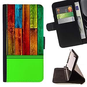 Momo Phone Case / Flip Funda de Cuero Case Cover - Modelo de la textura de madera verde colorido - HTC One Mini 2 M8 MINI
