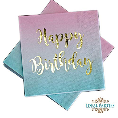 - 100 Count Happy Birthday Napkins 3 Ply Pink to Teal Ombre Luncheon Napkin with Metallic Gold Foil for Dinner Celebration Party Favor Supplies Decorations by Ideal Parties!