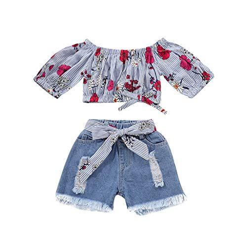 WOCACHI Toddler Baby Girls Clothes, Baby Girls Floral Striped Off Shoulder Tops+Denim Shorts Jean Toddler Cloth Sets Back to School Easter Egg Costume Parade Bunny Lily Eggs Roll Cushaw Basket]()