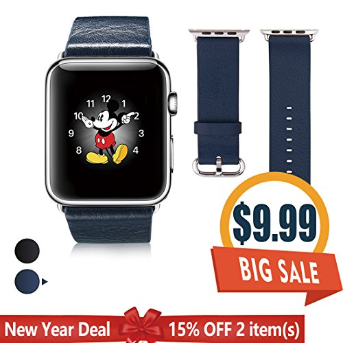 Apple Watch Band 38mm, G-CASE Genuine Leather iWatch Strap Bracelet Wrist Loop Band Replacement Watchband With Secure Metal Clasp Buckle for Apple Watch Series 2/Series 1/Sport/Edition - - Mobile Square Best Buy Times