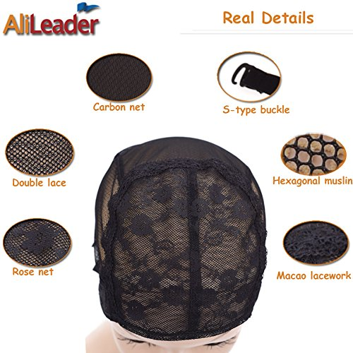 Black Double Lace Wig Caps For Making Wigs Hair Net with Adjustable Straps Swiss Lace Large Size from AliLeader by AliLeader (Image #5)