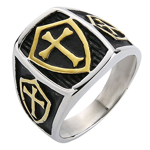 (Valily Jewelry Templar Cross Ring for Men Gold Stainless Steel Crusader Knights Templar Cross Shield Ring Size 14)