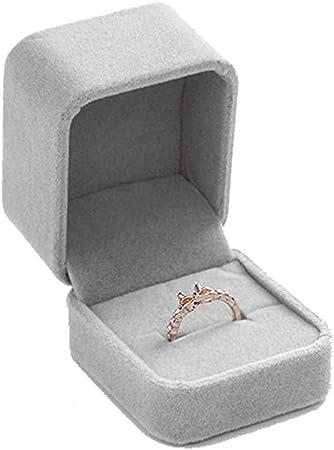 AG Caja de joyería de madera Anillo de pulsera de franela Caja ...