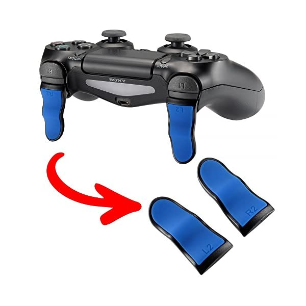 eXtremeRate L2 R2 Buttons Extention Trigger, Soft Touch Grip Extenders, Game Improvement Adjusters for Playstation 4 PS4… 1