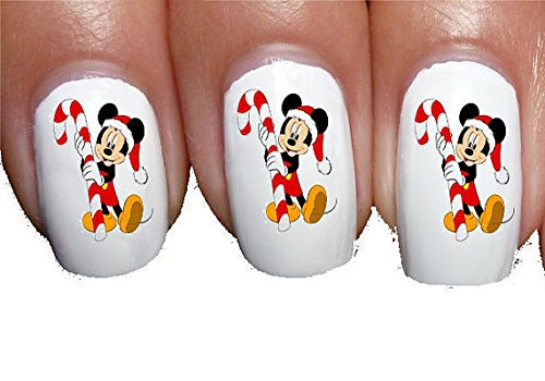 Nail Decals x 20 nail art set waterslide nail decals - Mickey mouse candy cane christmas xmas classic s/n Nail Art Waterslide Decals Assortment! - Salon Quality Nail (Christmas Art Nail Decals)