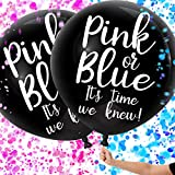 Gender Reveal Balloons with Confetti, Black Gender Reveal Balloon Kit for Baby Shower/Gender Reveal Party, Giant XL Confetti Balloons for Gender Reveal, 2 Pack Perfect for Twins Gender Reveal