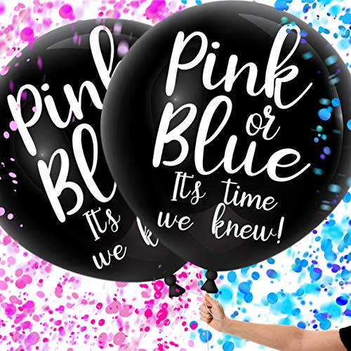 Gender Reveal Balloons with Confetti, Black Gender Reveal Balloon Kit for Baby Shower/Gender Reveal Party, Giant XL Confetti Balloons for Gender Reveal, 2 Pack Perfect for Twins Gender Reveal -