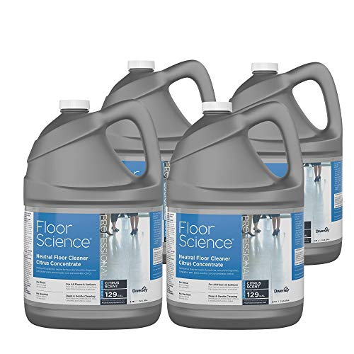 Floor Science Cleaner - Diversey Floor Science Professional Neutral Floor Cleaner, 1 Gallon Concentrate - Makes Up to 129 Gallons, Citrus Scent (4 Pack)