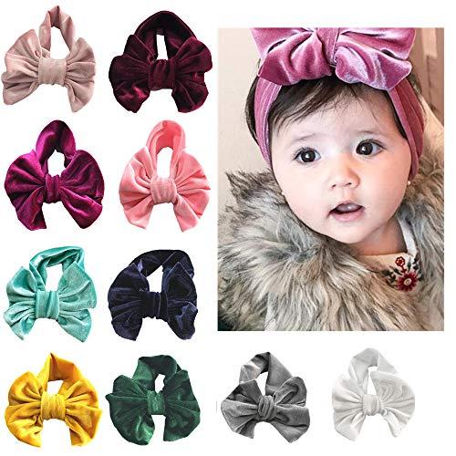 (Little Story  10PCSBoutique Velvet Stretch Bow Ear Turban Infant Headbans Baby Girls Headbands)