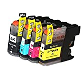 HOTCOLOR 4pk Compatible Replacements for Brother LC203 1 Black, 1 Cyan, 1 Magenta & 1 Yellow Set of 4 Inkjet Cartridges