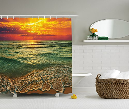 Ambesonne Ocean Decor Collection, Serenity View of Mystic Sunset at Dusk Behind Dense Clouds Wavy Sea and Sandy Beach Picture, Polyester Fabric Bathroom Shower Curtain, 75 Inches Long, Teal Orange (Sea Breeze Shower Curtain compare prices)