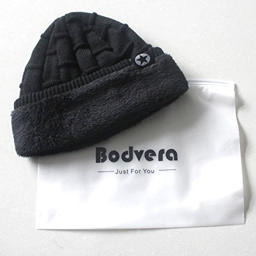 Bodvera Unisex Winter Knit Wool Warm Hat Soft Slouchy Beanie Skully Cap in 3 color, One Size, Black by Bodvera (Image #5)