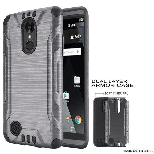 timeless design 48941 6c5d4 Phone Case for LG Rebel 4, Rebel-2 (Tracfone), Aristo-2 Plus, Fortune 2,  Phoenix 4, Phoenix-3 Brush Dual-Layered Cover (Combat Brush Gray-Black TPU)