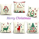 Decorative Pillow Cover - HOSL P48 Merry Christmas Series Cotton Linen Throw Pillow Case Decorative Cushion Cover Pillowcase Square 18
