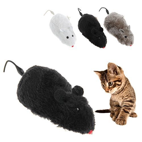 Delight eShop Clockwork Wind Funny Running Mouse Rat Move Tail Cat Kitten Prank Toy - Best Pranks Fools Home April