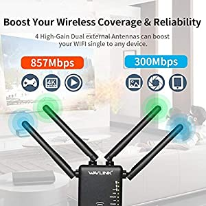5G WiFi Booster, WAVLINK AC1200 WiFi Long Range Extender,1200Mbps Dual Band, 5K Signla Amplifier Repeater/Access Point/Router with 4 Band Antennas for Office,Home,Outdoor (Color: Black)