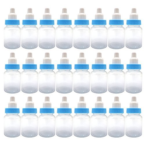 FADUOALI 3.5-Inches Baby Bottle Shower Favor,Mini Plastic Candy Bottle,Baby Shower Supplies Boy Girl Newborn Baby Baptism Birthday Party Decor,Blue(Pack of 24) -