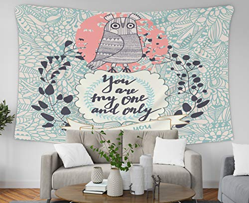 Asdecmoly Art Tapestry Wall Hanging, Huge Tapestry for Living Room and Bedroom 80 Lx60 W Inches You are The One Only Vintage Greeting Card Cute Owl Floral Wreath Beau Art Printing Inhouse ()