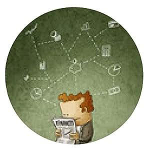 alfombrilla de ratón hombre de negocios leer un periódico financiero - ronda - 20cm