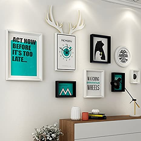 Amazon Com Paintsh Living Room Decoration Painting Sofa Background Wall Simple Modern Atmosphere Nordic French Back Wall Combination Mural Deer Head Painting Suitable For 2 5 5 M Wall Oblique Border Black An