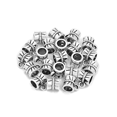 - Antique Tone Bail Connector Spacer Beads Vintage Pendant Charm Holders Pack of 100 (Antique Silver)