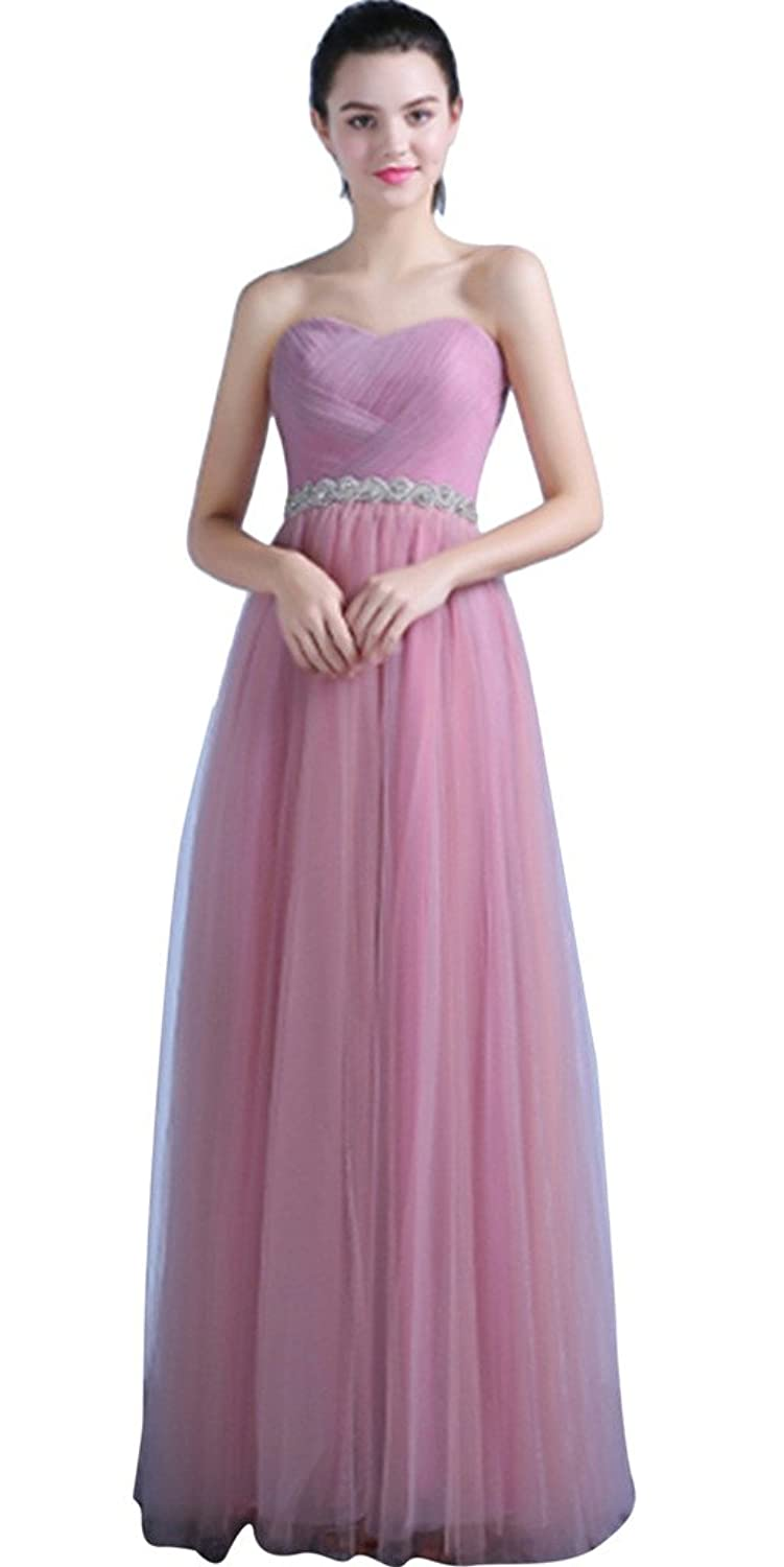 Vimans? Girl's Long Pink Pleated Sweetheart Gowns with Beads for Cocktail