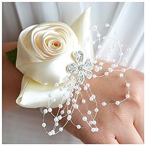 JudyBridal Bride Bridesmaid Wrist Corsage Hand Flower Wedding Bridal Wrist Flower Ribbon Bracelets Decor for Wedding/Party/Prom, 2 Packs 80