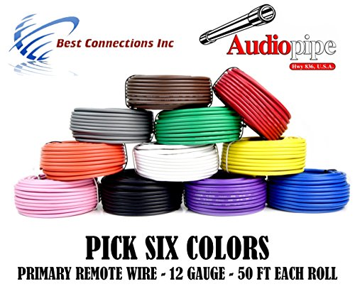 12 GA GAUGE 50 FT ROLLS PRIMARY AUTO REMOTE POWER GROUND WIRE CABLE (6 COLORS) by Audiopipe