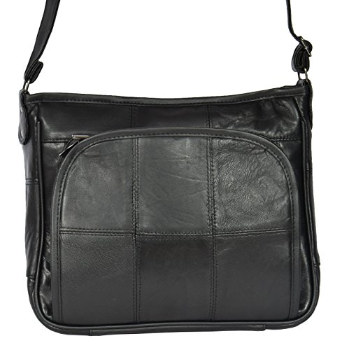 Organiser Black Shoulder body HLG8991 Multi Bag Ladies Cross Leather Compartment pwqIxT