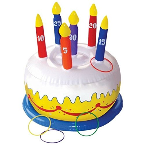 Carnival Fair Fun Inflatable Birthday Cake Ring Toss Game Party Activity, Plastic , 12