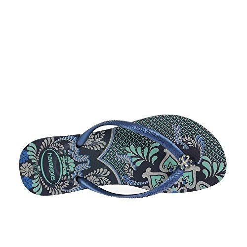 Havaianas Womens Sandales Slim Thématique Bleu Marine 3-4 Bleu Marine