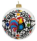 Blown-Glass Ball Ornament - Wycinanki, Rooster Folk Art 4 in