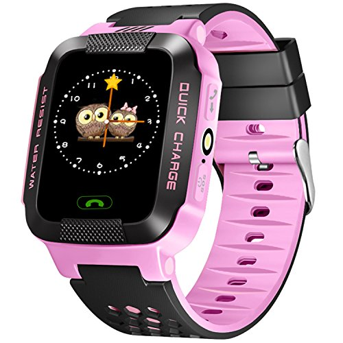 Smartwatch for Kids with GPS, GIZEE Touch Screen Wrist Watch Anti-lost SOS Remote Monitor with Flash Night Light for Children Safety, Compatible with iPhone Android etc. (Pink)