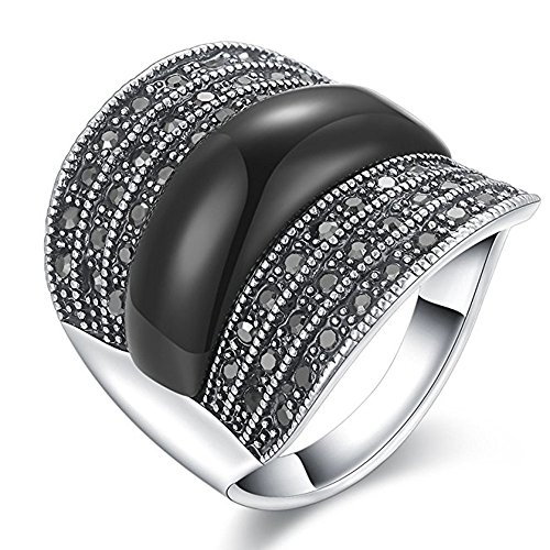 (Yfnfxl Women's Vintage Black Resin Marcasite Crystal Big Statement Stainless Steel Cocktail Rings)
